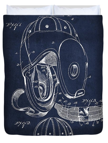 Vintage Football Helment Patent Drawing From 1927 Duvet Cover by Aged Pixel