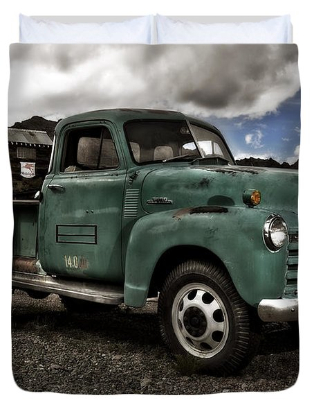 Vintage Green Chevrolet Truck Duvet Cover by Gianfranco Weiss