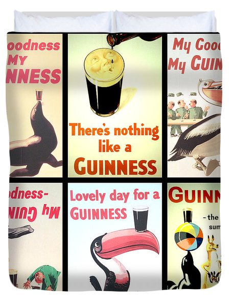 Vintage Guinness  Duvet Cover by Georgia Fowler