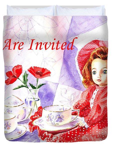 Vintage Invitation Duvet Cover by Irina Sztukowski