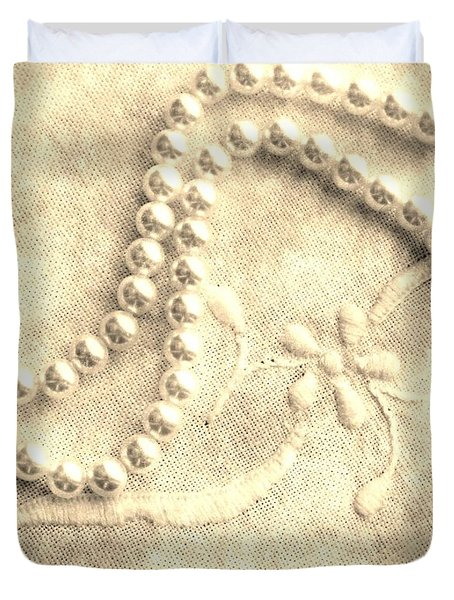 Vintage Lace and Pearls Duvet Cover by Barbara Griffin