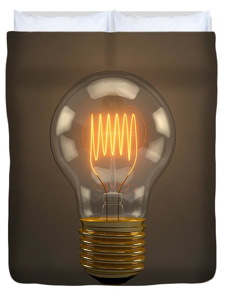 Vintage Light Bulb Duvet Cover by Scott Norris