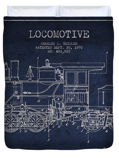 Vintage Locomotive Patent From 1892 Duvet Cover by Aged Pixel