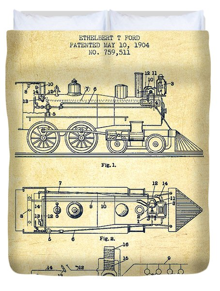Vintage Locomotive Patent From 1904 - Vintage Duvet Cover by Aged Pixel