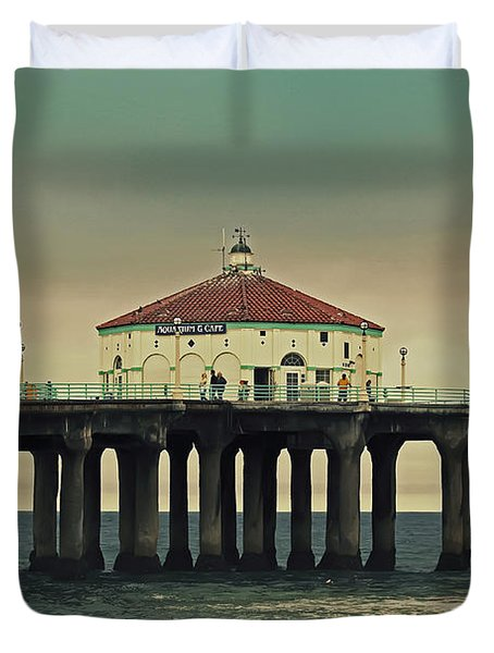Vintage Manhattan Beach Pier Duvet Cover by Kim Hojnacki