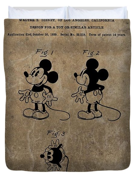 Vintage Mickey Mouse Patent Duvet Cover by Dan Sproul