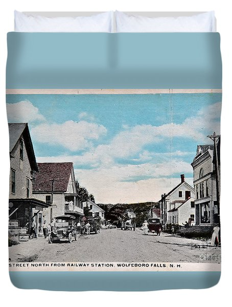 Vintage Postcard Of Wolfeboro New Hampshire Duvet Cover by Valerie Garner