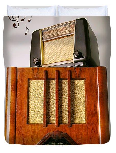 Vintage Radios Duvet Cover by Carlos Caetano