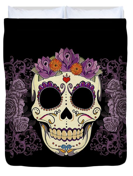Vintage Sugar Skull and Roses Duvet Cover by Tammy Wetzel