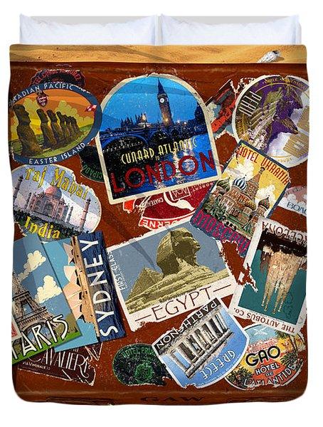 Vintage Travel Case Duvet Cover by Garry Walton