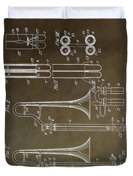 Vintage Trombone Patent Duvet Cover by Dan Sproul