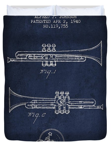 Vintage Trumpet Patent From 1940 - Blue Duvet Cover by Aged Pixel