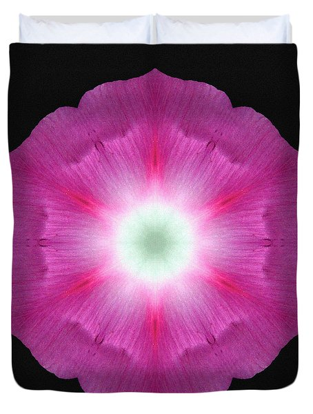Violet Morning Glory Flower Mandala Duvet Cover by David J Bookbinder