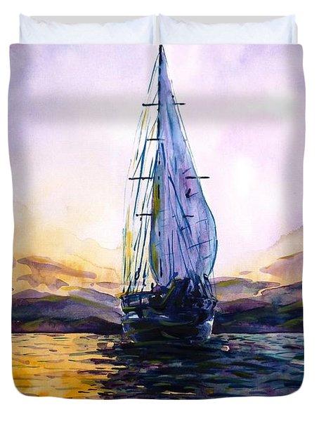 Violet Sunset Duvet Cover by Zaira Dzhaubaeva