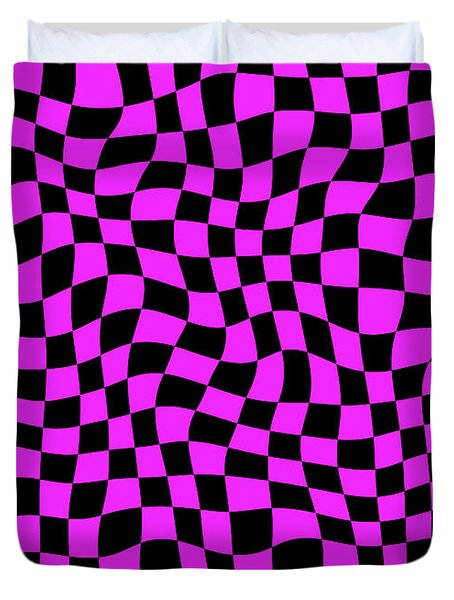 Violet Warped Polygons Duvet Cover by Daniel Hagerman