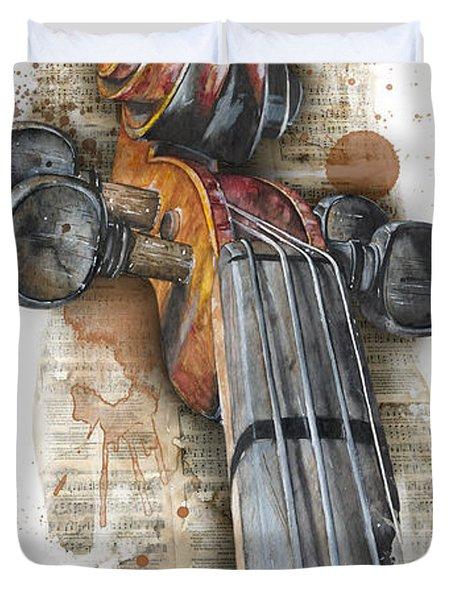 Violin 01 Elena Yakubovich Duvet Cover by Elena Yakubovich