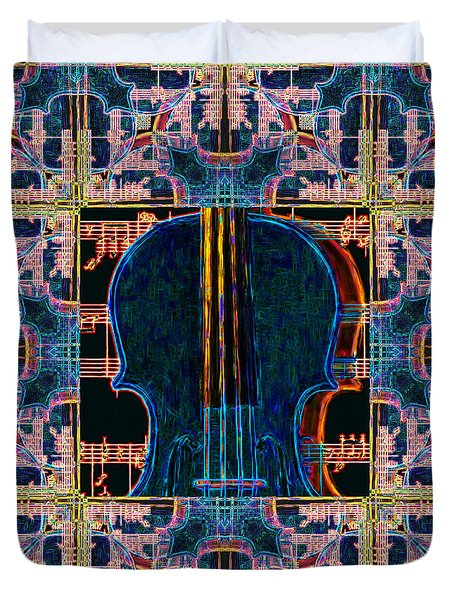 Violin Abstract Window - 20130128v1 Duvet Cover by Wingsdomain Art and Photography