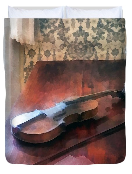 Violin on Credenza Duvet Cover by Susan Savad