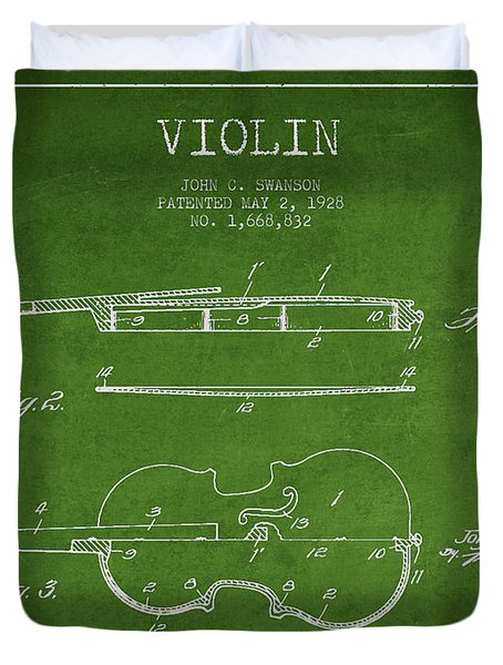 Violin Patent Drawing From 1928 Duvet Cover by Aged Pixel