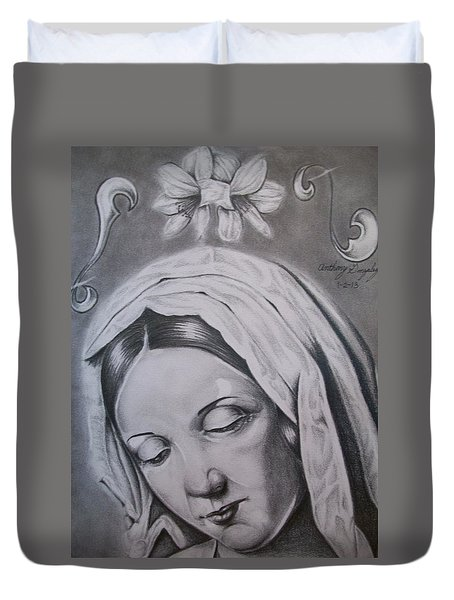 Virgin Mary Duvet Cover by Anthony Gonzalez