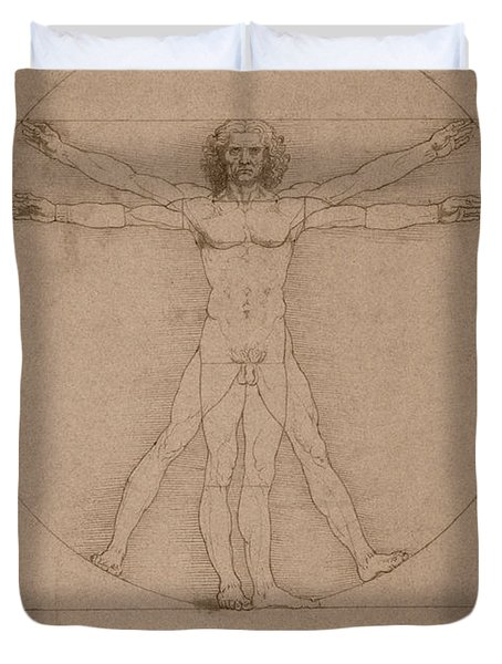 Vitruvian Man Duvet Cover by War Is Hell Store