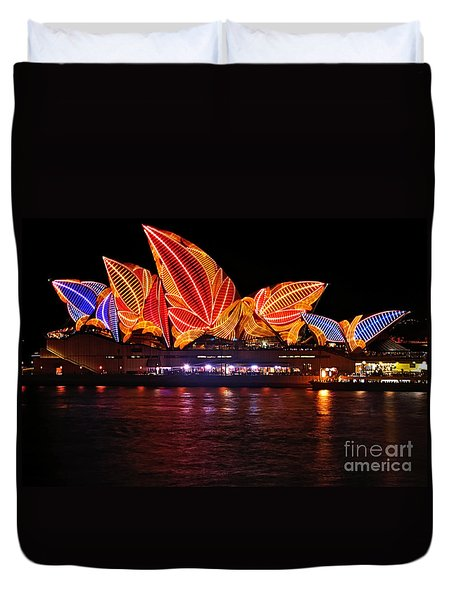 Vivid Sydney By Kaye Menner - Opera House ... Leaves Duvet Cover by Kaye Menner