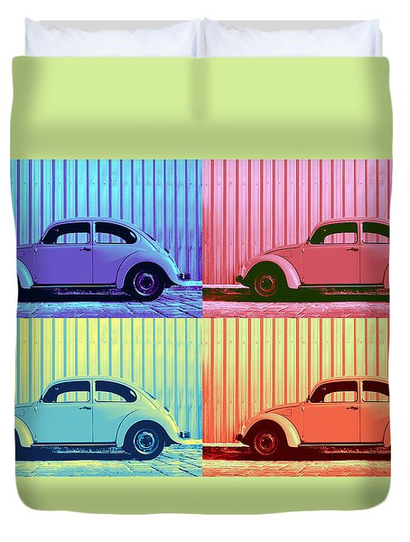 Vw Beetle Pop Art Quad Duvet Cover by Laura Fasulo