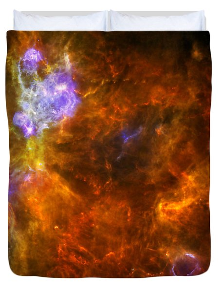 Duvet Cover featuring the photograph W3 Nebula by Science Source