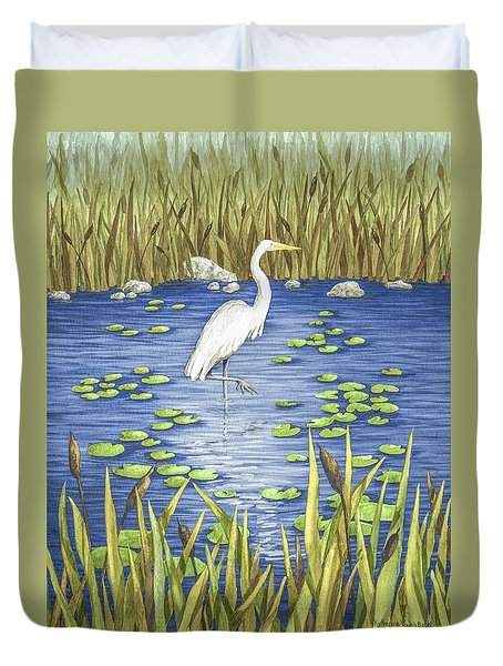 Wading And Watching Duvet Cover by Katherine Young-Beck