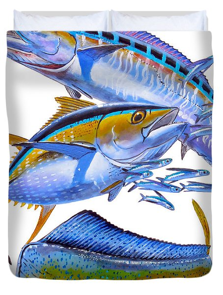 Wahoo Tuna Dolphin Duvet Cover by Carey Chen