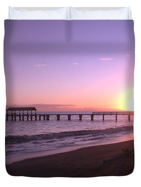 Waimea Pier Sunset Duvet Cover by Brian Harig