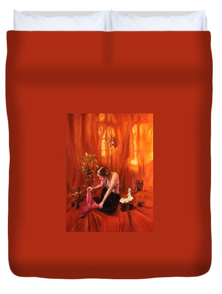 Waiting For My Husband Duvet Cover by Shelley Irish