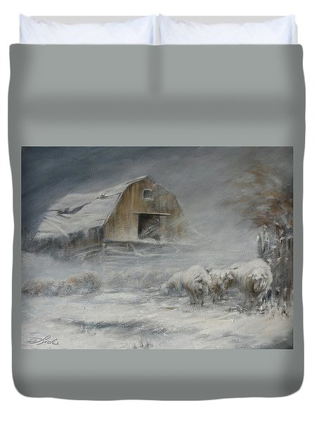 Waiting Out The Storm Duvet Cover by Mia DeLode