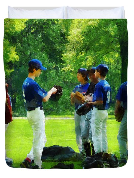 Waiting To Go To Bat Duvet Cover by Susan Savad