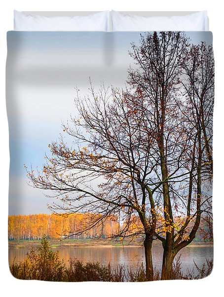 Walk Along The River Bank Duvet Cover by Jenny Rainbow