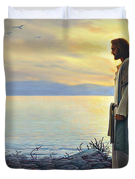 Walk With Me Duvet Cover by Greg Olsen