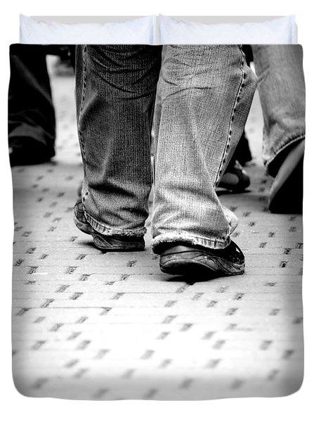 Walking Through The Street Duvet Cover by Michal Bednarek