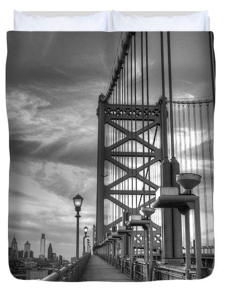 Walking To Philadelphia Duvet Cover by Jennifer Lyon