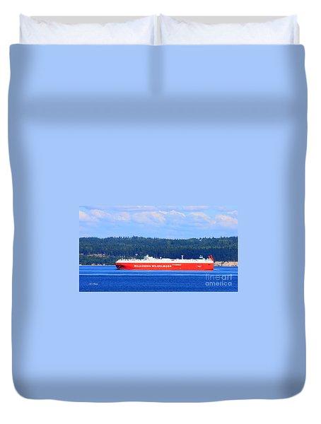 Wallenius Wilhelmsen Logistics Tamerlane Ship Duvet Cover by Tap On Photo