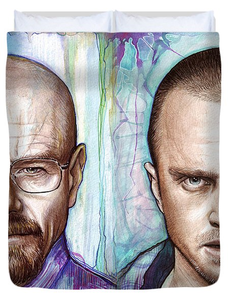 Walter and Jesse - Breaking Bad Duvet Cover by Olga Shvartsur