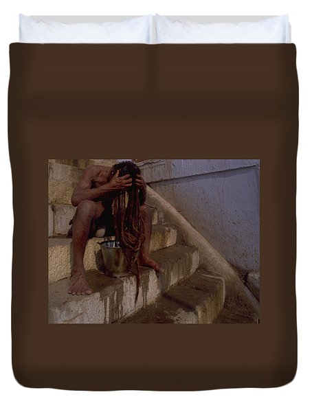 Duvet Cover featuring the photograph Varanasi Hair Wash by Travel Pics