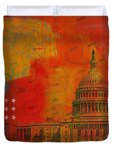 Washington City Collage Alternative Duvet Cover by Corporate Art Task Force