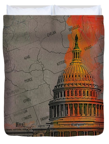 Washington City Collage Duvet Cover by Corporate Art Task Force