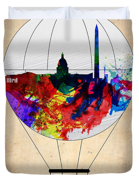 Washington D.c. Air Balloon Duvet Cover by Naxart Studio