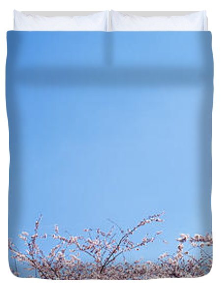 Washington Monument Behind Cherry Duvet Cover by Panoramic Images