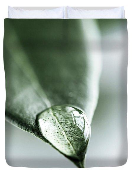 Water drop on leaf Duvet Cover by Elena Elisseeva