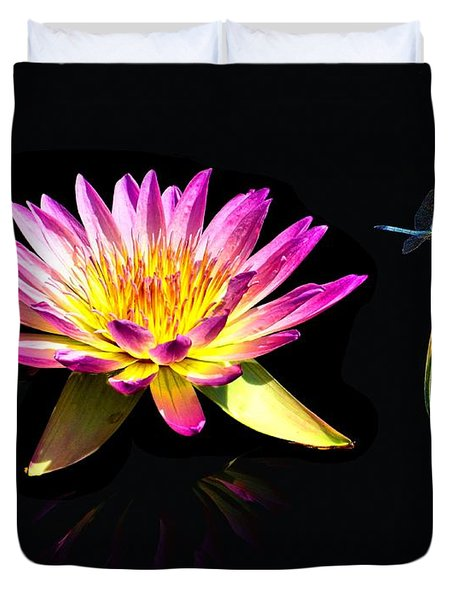 Water Lily Dragon Fly Duvet Cover by Nick Zelinsky