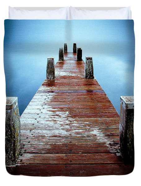 Water On The Jetty Duvet Cover by Dave Bowman