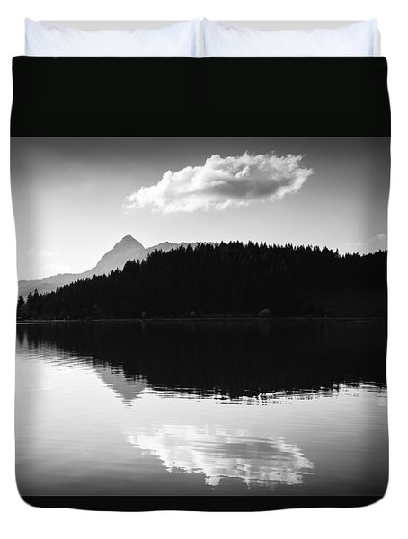 Water Reflection Black And White Duvet Cover by Matthias Hauser
