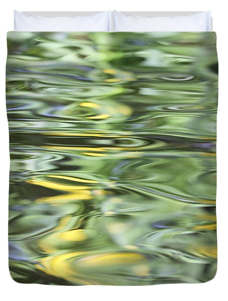 Water Reflection Green And Yellow Duvet Cover by Dan Sproul